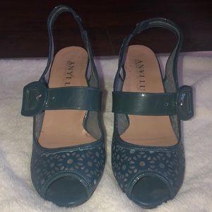 Anyi Lu Open Toe Sling Back Blue Sandals